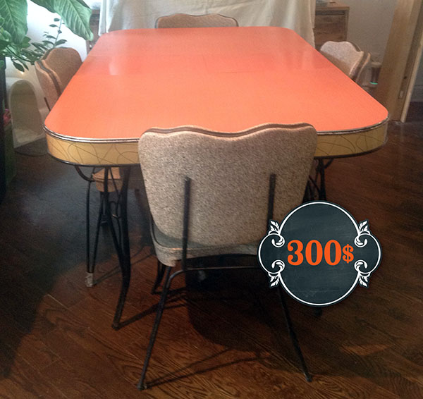 Cool Table De Cuisine Rouge Et Ses Chaises Vintage