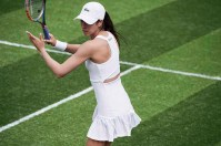 Christina McHale wearing Lacoste at Wimbledon 2017