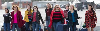 "Get ready to have a Merry Pitchmas. (L to R) Flo (CHRISSIE FIT), Chloe (BRITTANY SNOW), Emily (HAILEE STEINFELD), Beca (ANNA KENDRICK), Jessica (KELLEY JAKLE), Fat Amy (REBEL WILSON), Ashley (SHELLEY REGNER), Aubrey (ANNA CAMP) and Lilly (HANA MAE LEE) in ""Pitch Perfect 3,"" the follow-up to summer 2015's blockbuster hit that took the honor of highest-grossing live-action movie-musical opening of all time. The eagerly awaited next chapter is led by series producers Paul Brooks of Gold Circle Entertainment and Max Handelman & Elizabeth Banks of Brownstone Productions. The film is directed by Trish Sie (""Step Up All In"")."