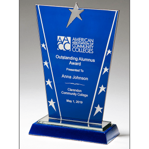 Blue with Stars Glass Award MARIETTA TROPHY