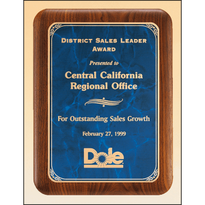 p3486 Walnut Plaque with Blue Marbled Plate MARIETTA TROPHY