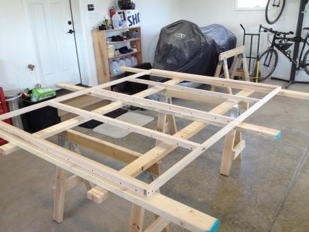 The completed bed platform ready to accept the solid panesl