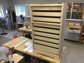 Nine Drawers and Slides Temporarily Installed
