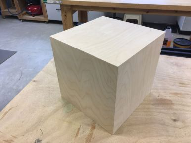 The finished plywood box, with no raw plywood edges showing.