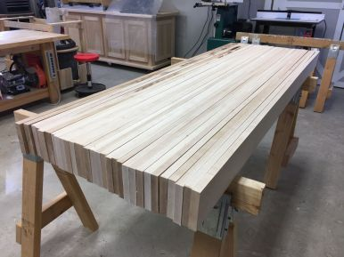 """A rough idea how the 4"""" x 24"""" x 72"""" top will look once it's all glued up."""