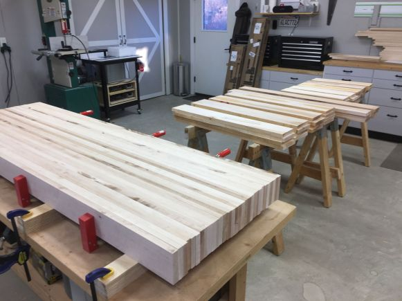 All the maple for the basic bench top and base, milled to rough dimensions and (almost) ready for glue ups.