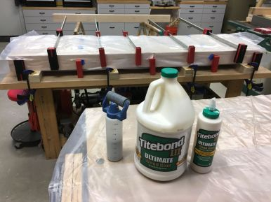 Nearly a gallon of Titebond III PVA glue was used