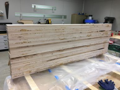 Seven sessions of five boards at a time resulted in a complete slab glue up