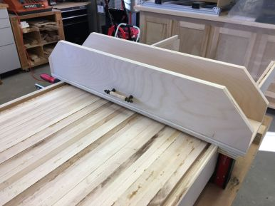 Complete router sled with handle in first trial position