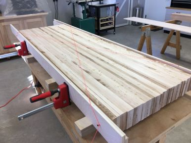 """Using the """"string method"""" to set plywood rails parallel to each other"""
