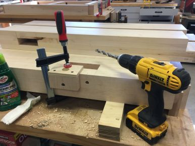 Jig clamped and ready for next hole