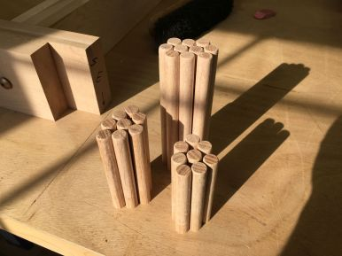 Chamfered, waxed pegs ready for assembly