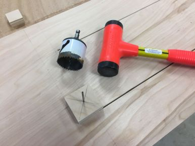 """Using quick shop mad jig to mark centers of 1 1/8"""" radii"""