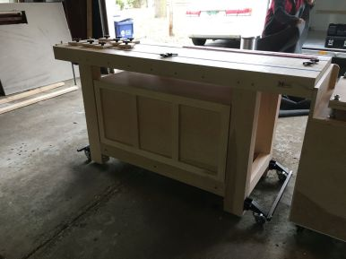 Decorative face frame on the back of the workbench cabinet