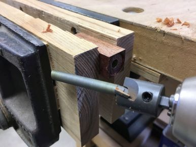 This barrel trimmer is a new piece of kit for me. It works great if it's fed slowly. I accidentally blew out the end of a cocobolo blank, but I was able to save it with CA glue and the vise.