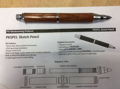 Completed 5mm Sketch Pencil with cocobolo barrels and a Chrome finish. This kit uses a fat 5mm lead.