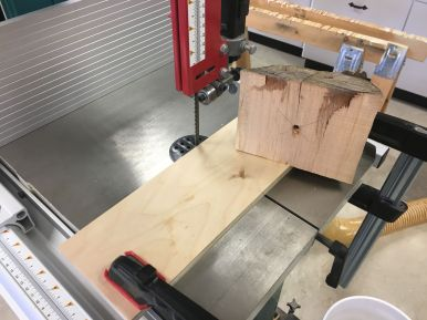 Using the wormscrew pilot hole as a pivot point to bandsaw each blank into a roughly circular shape