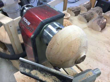 "Outside of a rough turned bowl blank with 2"" diameter tenon for chucking"
