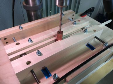 Drilling the pen blanks with an 8mm brad point bit.