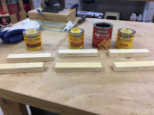 Three Minwax stains and Pre-Stain Conditioner to make six stain samples