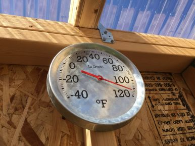 Temperatures at the upper parts of the garden shed often reach wood-drying kiln temperatures in the summertime