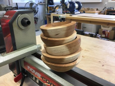 After about three months of drying in the garden shed, the first batch of rough-turned bowls are ready for final turning