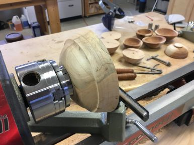 Rough-turned and dried bowl blank chucked and ready for finish turning