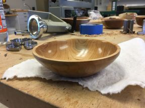 Finished cherry bowl with Aussie Oil friction finish applied