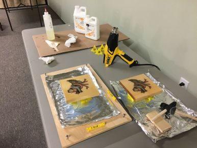 Epoxy pouring setup, showing leveling board to allow even distribution of self-leveling epoxy resin
