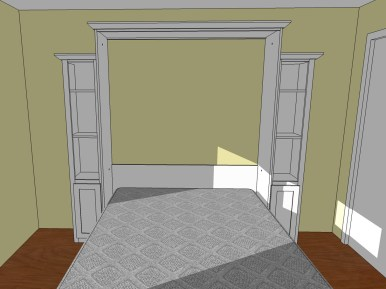 The 3D design, set in a model of the guest room, allowed us to see the finished project closed and opened