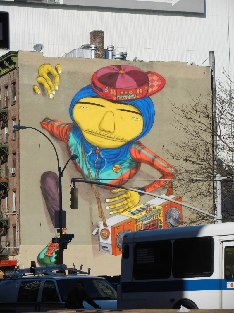 "Second Ave/1st St, New York, NY -- Os Gêmeos: ""The dancing yellow"""