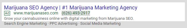 marijuana seo google ads
