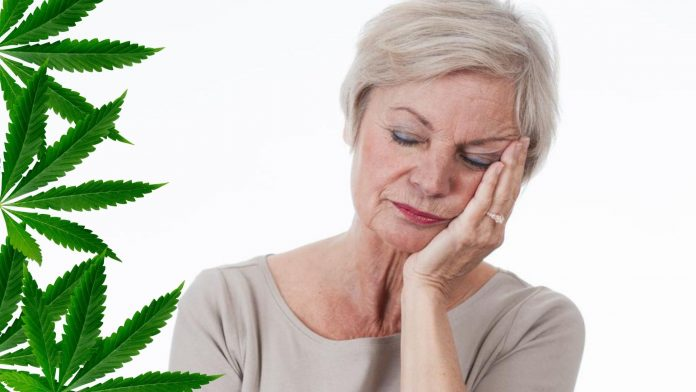 Lady in Menopause Stat and Hemp Leaves