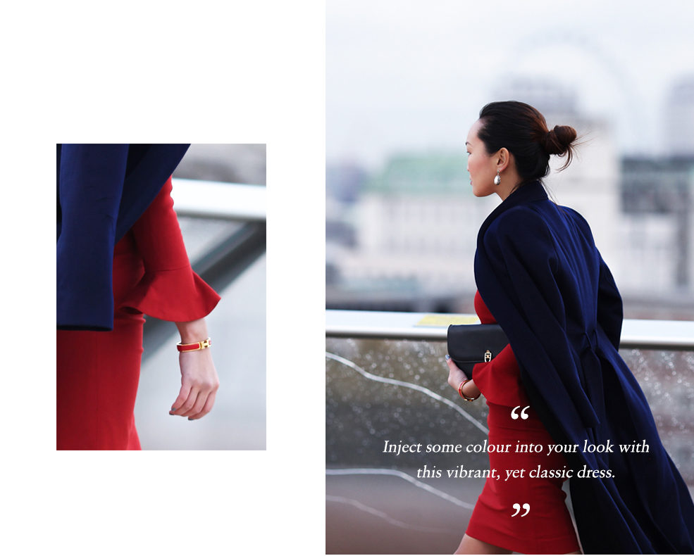 Mariko Kuo in the Carnaby dress and the Claremont Coat by the Fold London