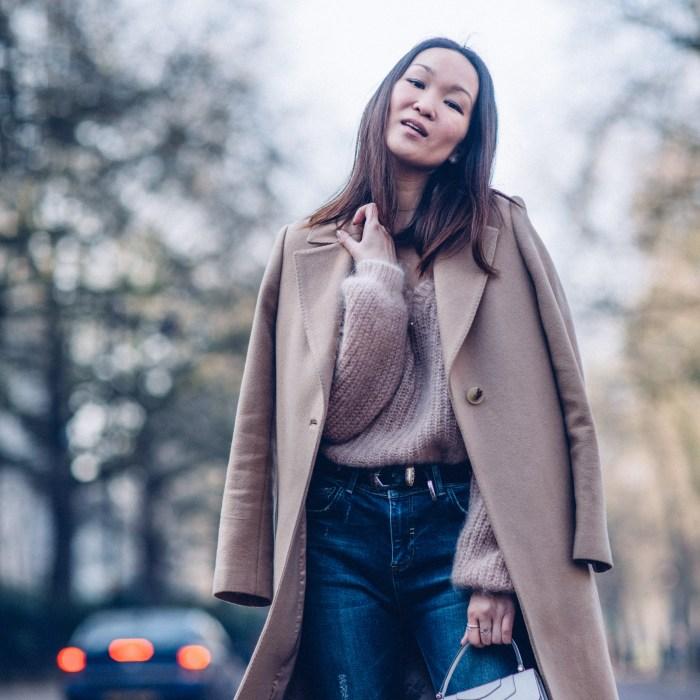 Mariko Kuo in Jaeger camel coat