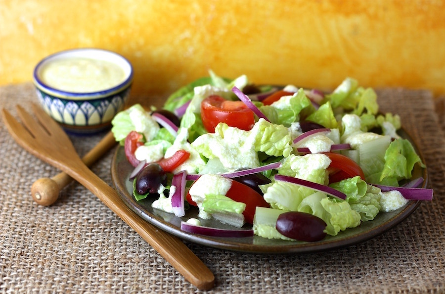 summer salad with feta cheese dressing