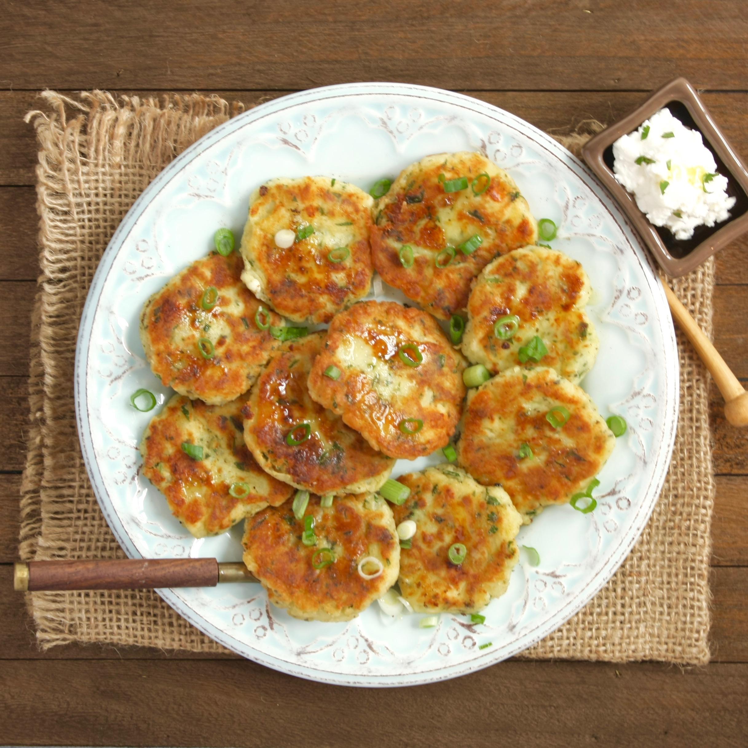 Easy Greek Potato Patties With Creamy Feta Cheese Sauce Marilena S Kitchen