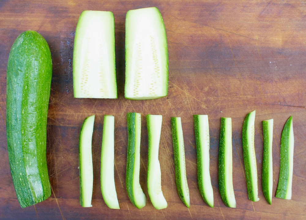 zucchini cut into wedges