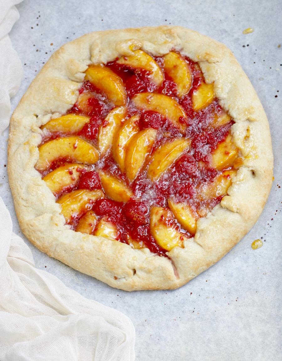 rustic peach and raspberry crostata