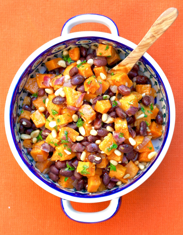 roasted sweet potatoes with beans