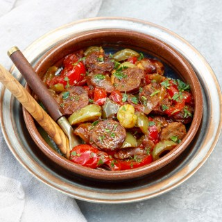 Hearty One-Pan Sausage, Pepper and Onion Braise