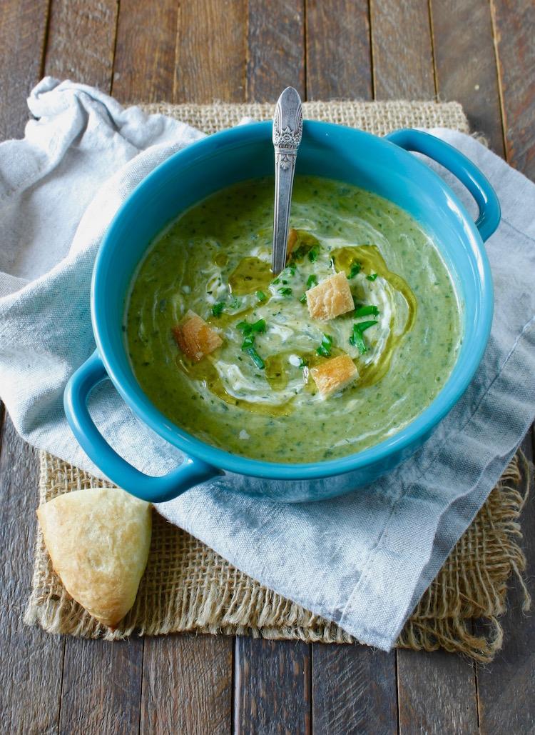 Cream of leek, potato, and watercress soup
