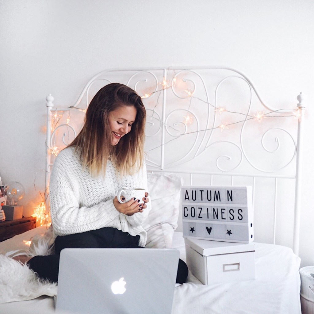 Life Update with cozy tea time in bed. with laptop, lights garland and light box