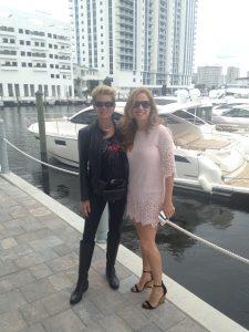 Marilyn & Romina enjoy the opening festivities at Marina Palms in Aventura