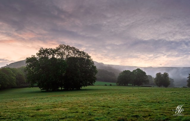 Dawn over Hambledon Hill from Manor field