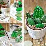 Hacer cactus con piedras para decorar