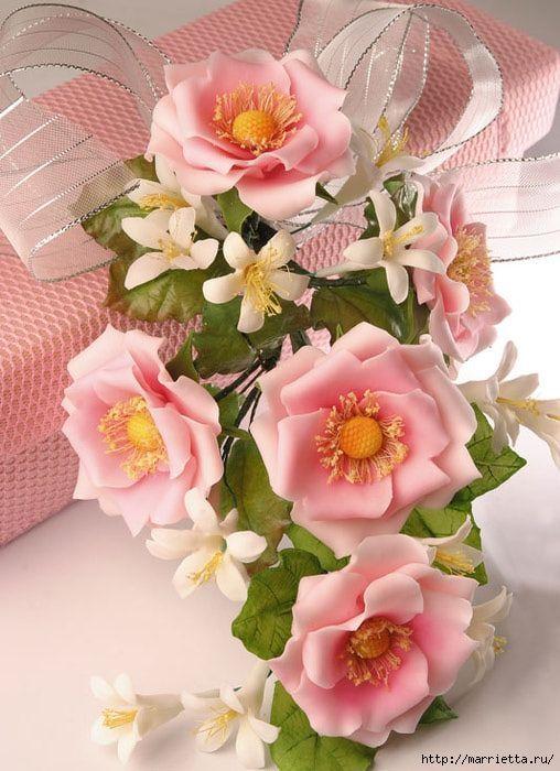 Como hacer un ramo de rosas en porcelana fría