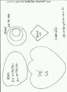 Búho de fieltro con moldes (molde 2)