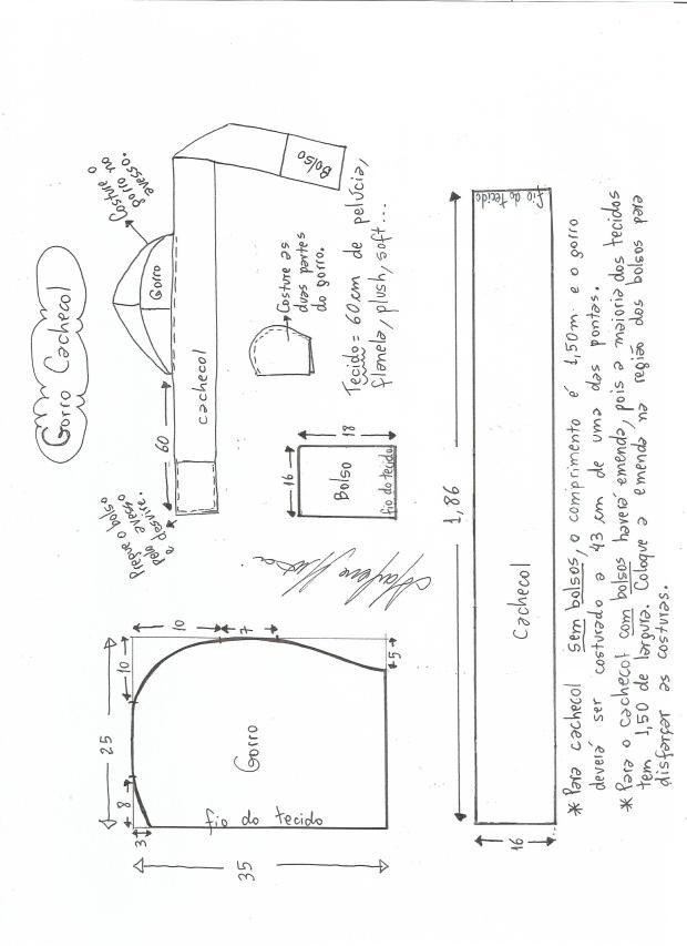 Patrón para hacer una bufanda con gorro - Marina Creativa