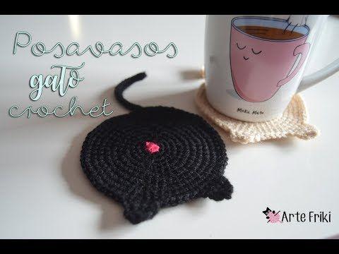 Diy Posavasos gato en crochet